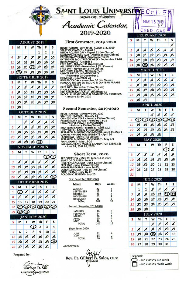 Slu Graduation 2020.Academic Calendar Saint Louis University